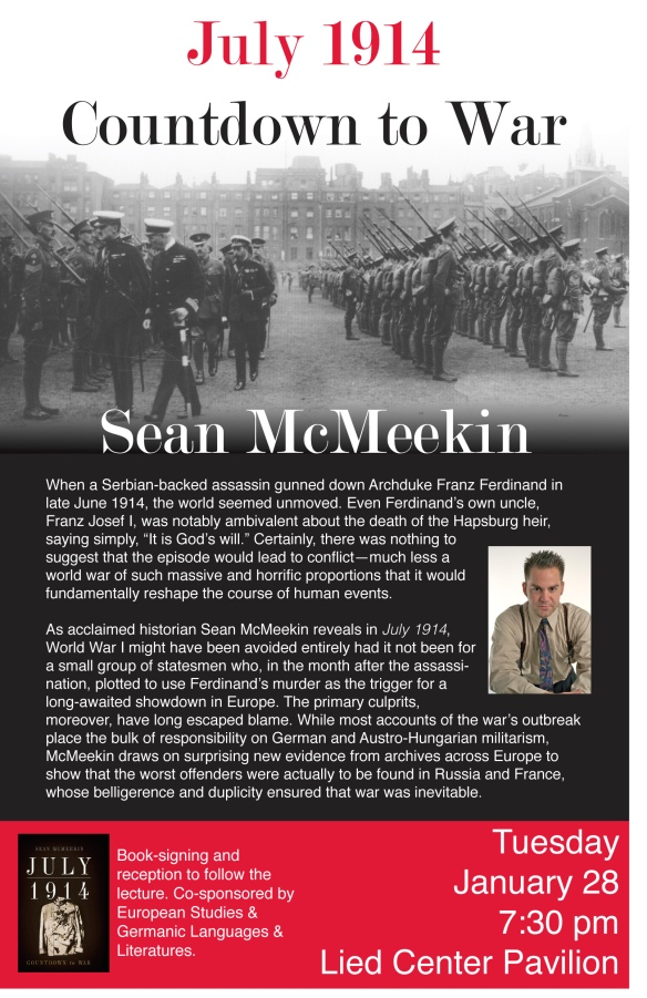 Historian Sean McMeekin to visit KU campus on January 28, 2014.