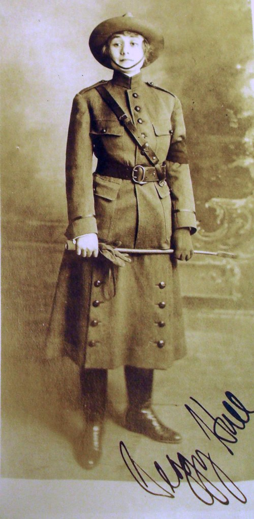 Peggy Hull [Deuell] in WWI uniform, 1917. Kansas Collection, Call Number RH MS 130.